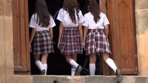 Catholic School Girls Enter And Leave Church, teacher cover letter. catholic teacher, selection criteria